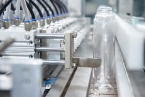 Bottles in a production line