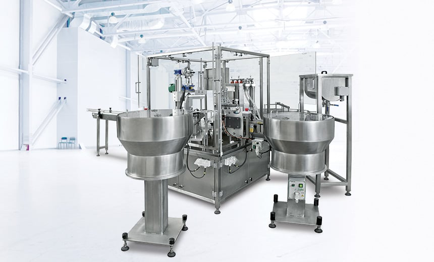 Sambax Monoblock Automatic Packing Machine for small containers and vials Shemesh Automation