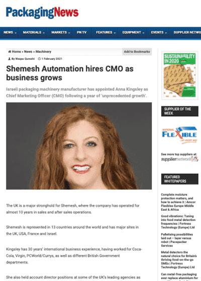 Anna Kingsley new CMO at Shemesh